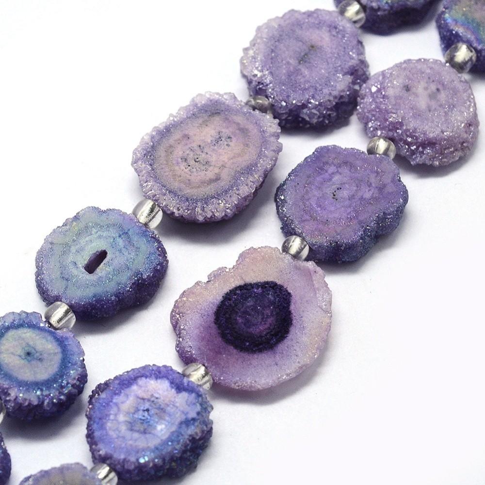 Drůza z přírodního křišťálu, fialová