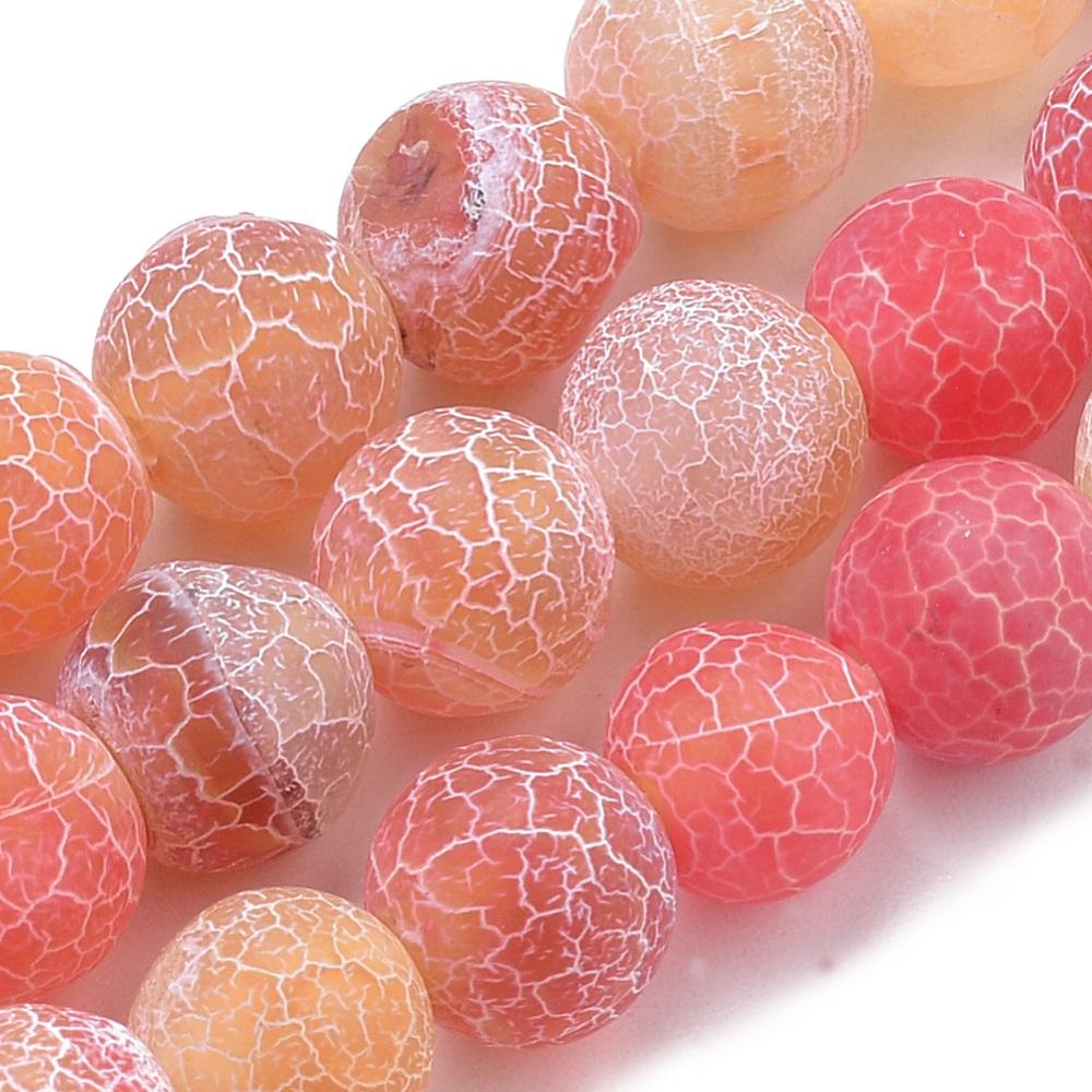Přírodní achát - korálky, ledové, oranžové