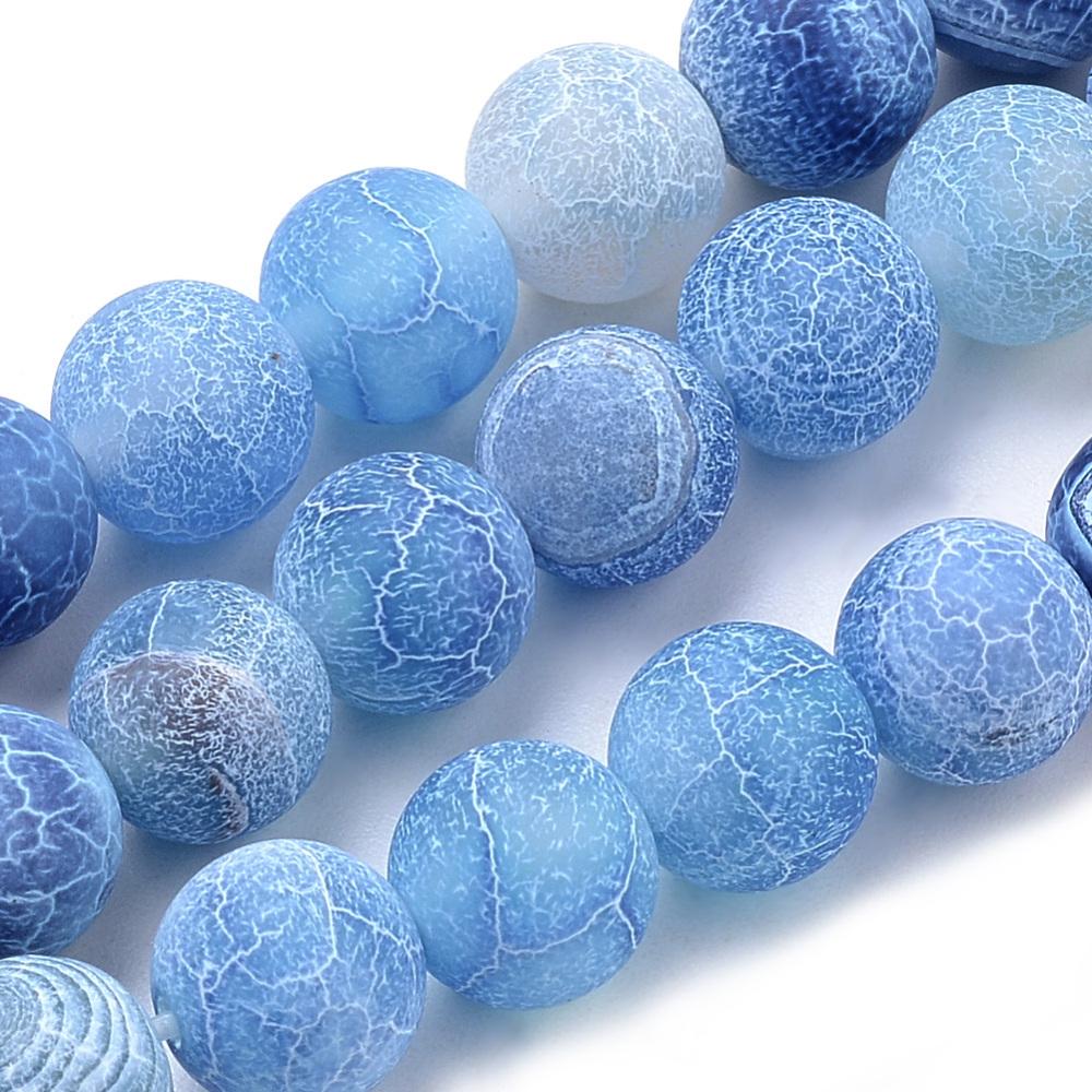 Přírodní achát - korálky, ledové, modré
