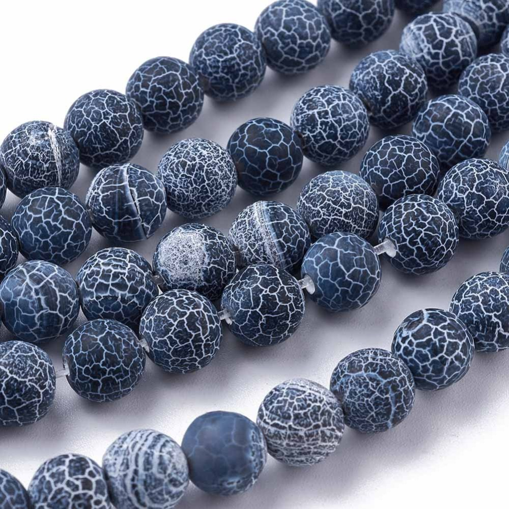 Přírodní achát - korálky, ledové, tmavě modré