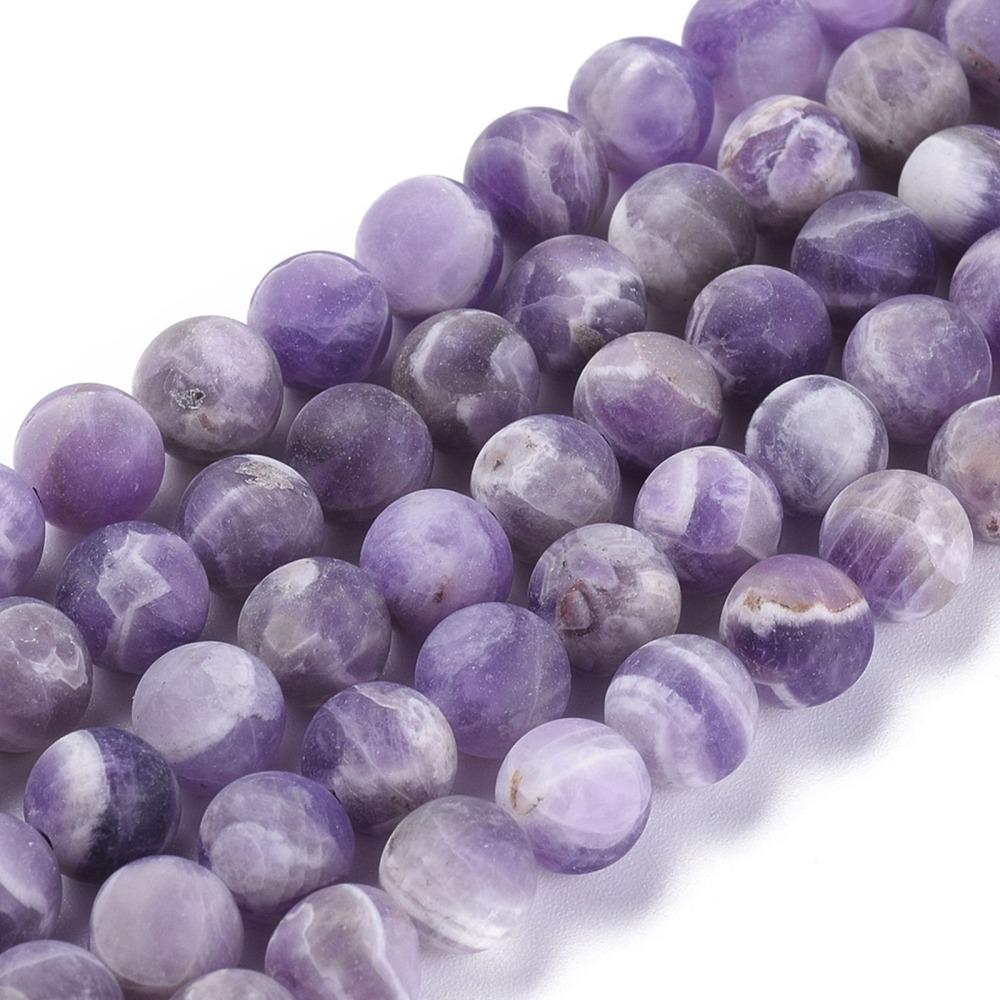 Přírodní ametyst - korálky, ledové, fialové, 250